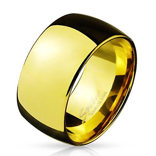 Paula & Fritz BREITER Dome 10mm breit Damen-ring Verlobungs-ring Freundschaftsring Herrenring Partnerring Edelstahl Chirurgenstahl 316L gold 69 (22)