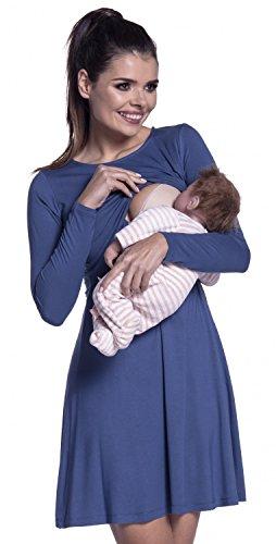 Zeta Ville - Stillen A-Linie Kleid Schwangere Rundhalsausschnitt - Damen - 128c (Blau Jeans)