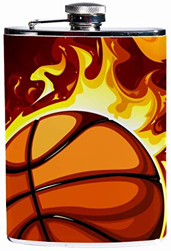 Auslaufsicherer Spirituosen-Flachmann 7,6 Unzen Flagon Mug Lederbezug mit brennendem Basketballtaschenbehälter für diskreten Schnaps