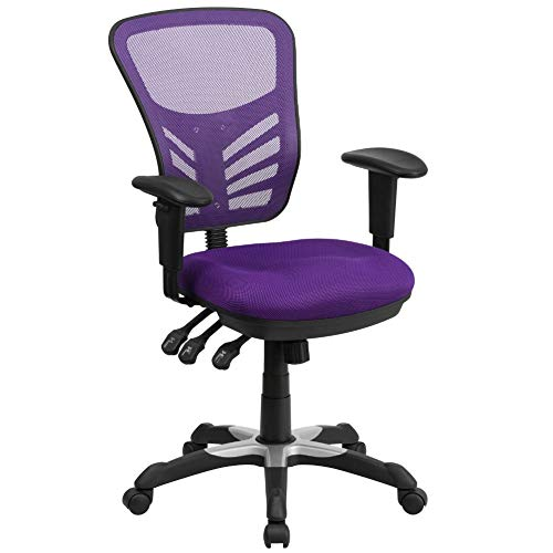Flash Furniture Mid-Back Purple Mesh Multifunction Executive Swivel Ergonomic Office Chair with Adjustable Arms