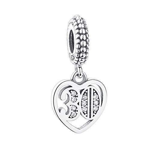 Love Baby Footprint Charm 925 Sterling Silver Heart Dangle Bead Charms Family Anniversary Charm Christmas Birthday Charms for Pandora Bracelet (Rose Gold) (30th Charm)