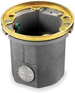 Hubbell Wiring Systems B2588 Cast Iron Round Wooden Floor Box with Brass Collar, 1 Gang, 18.5 Cubic Inches Capacity, 1/2