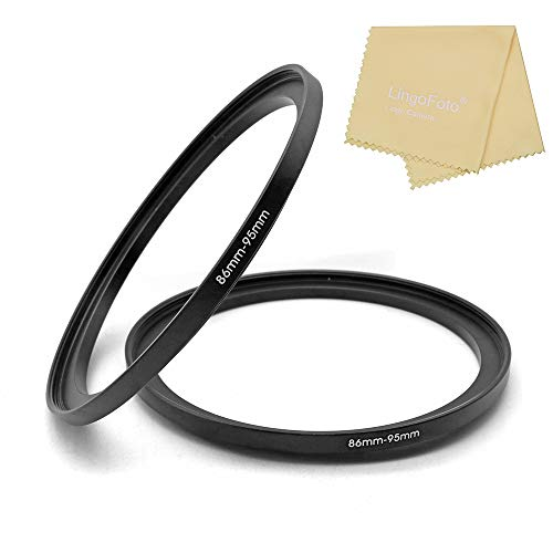 Metal Step Up Ring, 86mm to 95mm 86-95mm Step Rings 2 Pieces Step-Up Lens Adapter Ring for Canon Nikon Sony Camera Lens LingoFoto