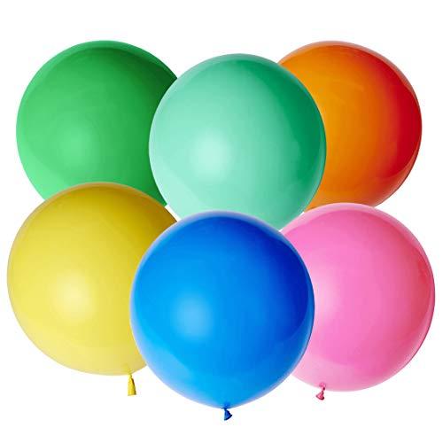 Globos Gigantes de Colores, Globos Grandes 90 cm de Látex, Gigante Globos de Colores para Fiestas de Colores para Cumpleaños y bodas Ceremonia del carnaval de Navidad, Paquete de 6
