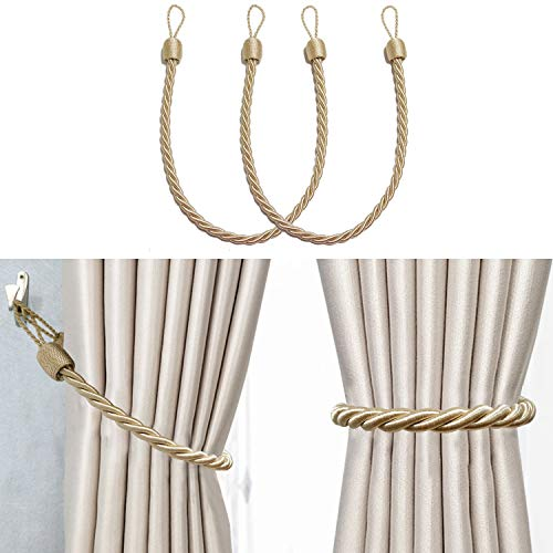Hiastra Curtain Tiebacks Ropes, 2pcs Decorative Handmade Tie Backs Curtain Holdbacks Cord for Outdoor Home Curtains, Beige