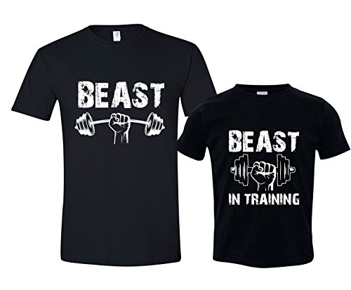 Funny Workout Tshirt, Beast in Training Shirt, Shirt Set, Mens XL Shirt & Size 3