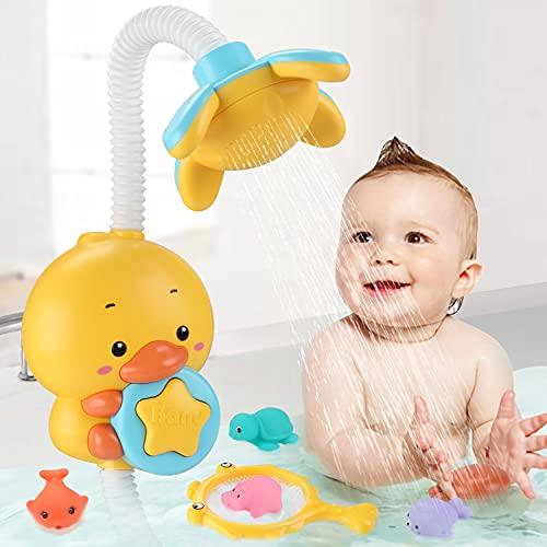 Sotodik Bañera infantil con juguetes eléctricos para ducha de pato, cabezal de...