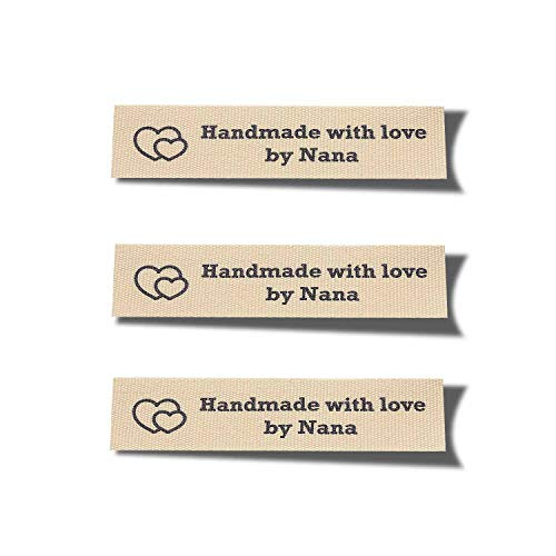 Wunderlabel Handmade with Love by Nana Granny Heart Symbol Craft Ribbon Ribbons Cotton Woven Tag for Clothing Sewing Sew on Clothes Garment Fabric Embroidered Label Tags, Black on Cream, 50 Labels