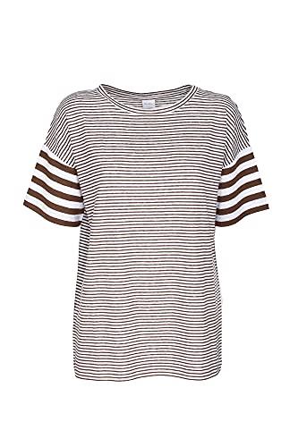 Max Mara Camiseta de mujer de color blanco/marrón Garbo D Over Riga...