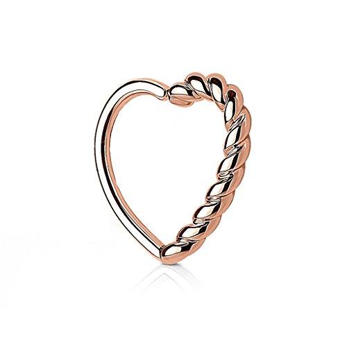 Kultpiercing - Helix Piercing - Herz mit Drehung - Tragus Ear Cartilage Ohrpiercing Daith Hoop Ring - Rose Gold