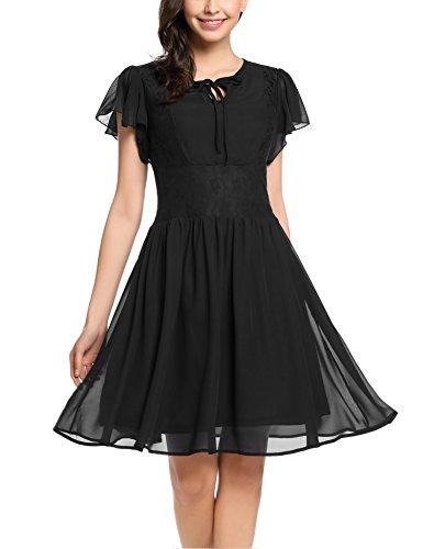 Zeagoo Damen Chiffon Kleid Sommerkleid Elegant Partykleid Hochzeit Festliches Kleid A Linie Kurzarm Knielang Schwarz(B) XL