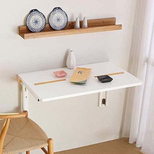 XLAHD Klappbare Wandbank Work Leach Drop Leaf Tisch, Computertisch Klappbarer Esstisch Drop-Leaf Schreibtisch Weiß Holz Maximale Tragfähigkeit 30 kg