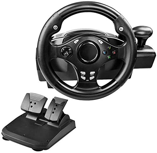 Dual-Motor Racing Wheel, 270 Degree Rotation Steering Wheel for PS3/PS4/XBOX ONE/Xbox 360/NS Switch/PC/Android, with Pedals, Gear Shifter
