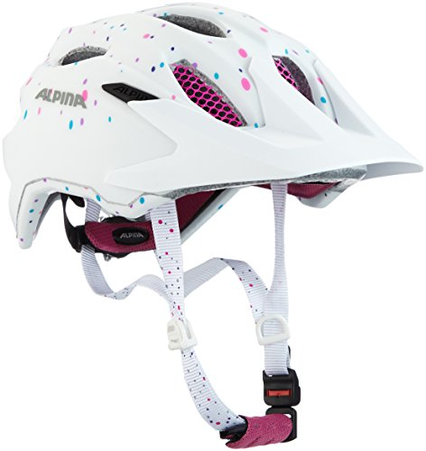 ALPINA Unisex Jugend Carapax Fahrradhelm, White-Polka-dots, 51-56 cm