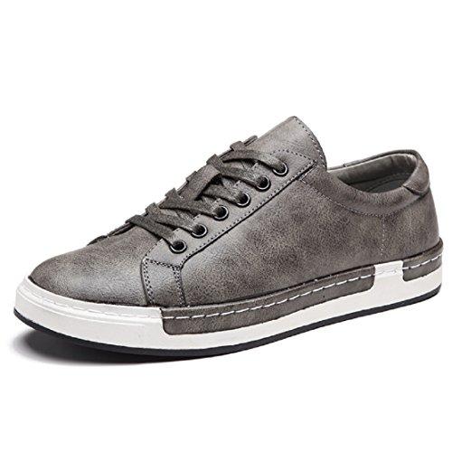 Zapatos de Cordones para Hombre Conducción Zapatillas Cuero Casual Shoes Attività Commerciale Sneakers Gris 38