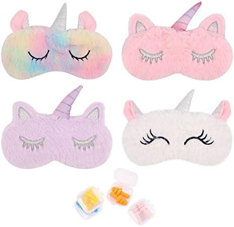 4 Pcs Sleep Mask for Girls Child Women Eye Cover with 4 Pairs Ear Plugs Soft Plush Blindfolds product image