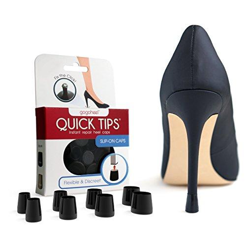 GoGoHeel QUICK TIPS - The Original High Heel Protector & Heel Repair Caps - 4 Pairs Multipack (XS, S, M, L, Black)