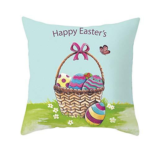 AMDXD Funda de Cojín Poliéster, Funda Cojines Decoracion Sofa Cesta Huevos Happy Easter's Sofá Cama Coche Decoración para Hogar , Azul Púrpura, 50x50cm