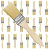Kurtzy Pack de 24 Brochas Pintura 17,5 cm de Largo Cabezal de la Brocha 38,1 mm - Brocha Pintura para Trabajos con Silicona, Gesso, Tintar, Barnices, Pegamentos - Set de Brochas Planas