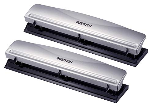 Bostitch Office 3 Hole Punch, 12 Sheet Capacity, Metal, Silver, 2-Pack