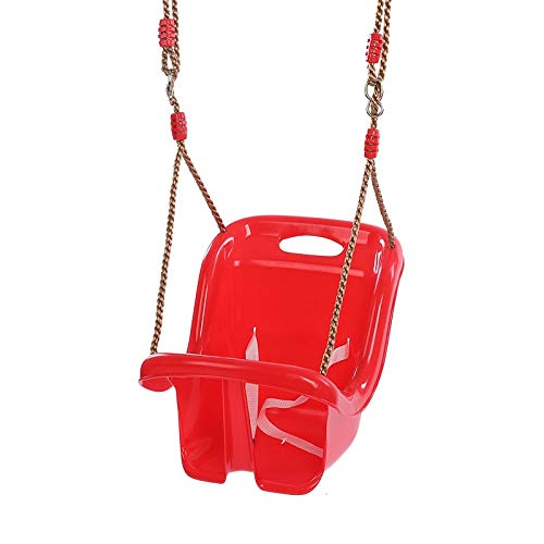 jiande High-back Kids Swing Chair Plastic Baby Safety Swing Seat Garden Backyard Outdoor Toys for Children Indoor Sports Baby Outdoor Funny Toy Red