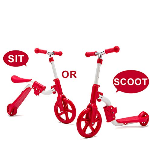 KAMURES 2-in-1 | 2 Wheels Kick Scooter with Removable Seat for Kids & Toddlers, Balance Bike, 3 Adjustable Height Kids Scooter, Best Birthday Gift for Baby Boys Girls Age 2-8 (Red)