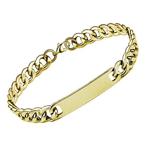 YUNLAN Nombre Personalizado y Pulsera de Nombre, Cadena de Acero Inoxidable de Oro para Hombre, joyería Personalizada de Hip-Hop, Regalos de Fiesta Pulsera (Color : B)