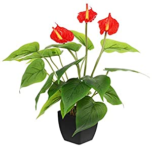 Wakauto Artificial Flowers Artificial Anthurium Decorative Fake Flower Fake Potted Flower Plant Home Decoration