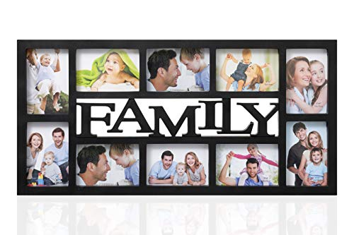 ARPAN Family Multi Aperture Photo Picture Frame - Holds 10 X 6''X4'' Photos (Black Family)