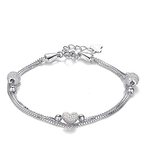 Abiguell Herz Armband Schmuck Damen Silber Armkette Silber, Schmuck mit Etui, Ewige Liebe - Weiß, Verstellbares 16.5+3 cm