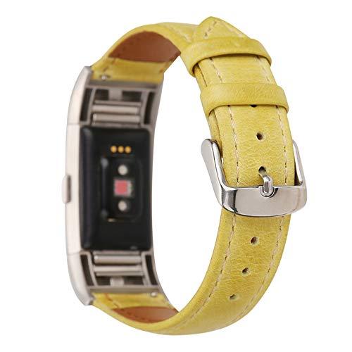 XIALEY Correa De Repuesto Compatible con Fitbit Charge 2, Correas De Cuero para Mujer Hombre Pulsera De Reloj Reemplazo Banda Ajustable Brazalete Accesorios para Charge 2,B