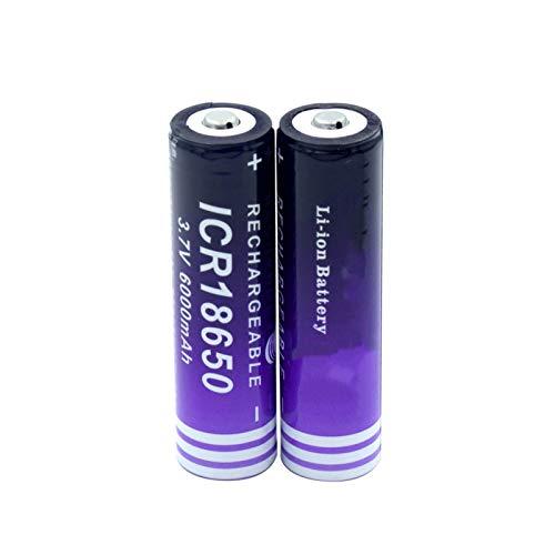 WSXYD Batería De ión De Litio del Top del Botón De La Alta Capacidad 3.7v 6000mah 18650, Celda del Reemplazo De La Linterna De La Luz del Led 2pieces