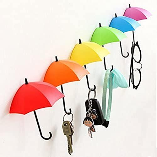 Uyikoo® 6 pcs coloré Parapluie, porte-clés, porte-clés, porte-clés mural Rack, mural, porte-clés, Key Organiseur pour clés, bijoux et autres petits objets (6PCS)