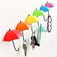 UYIKOO Key Holder Key Hanger Wall Key 6 PCS Colorful Umbrella Wall Rack Wall Key Holder Key Organizer for Keys, Jewelry and Other Small Items (6PCS)