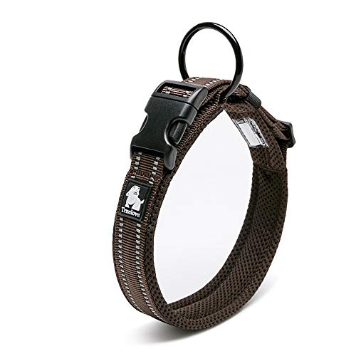 Chai's Choice Best Padded Comfort Cushion Dog Collar for Small, Medium, and Large Dogs and Pets. Perfect Match Front Range Harness Leash. (Small, Chocolate)