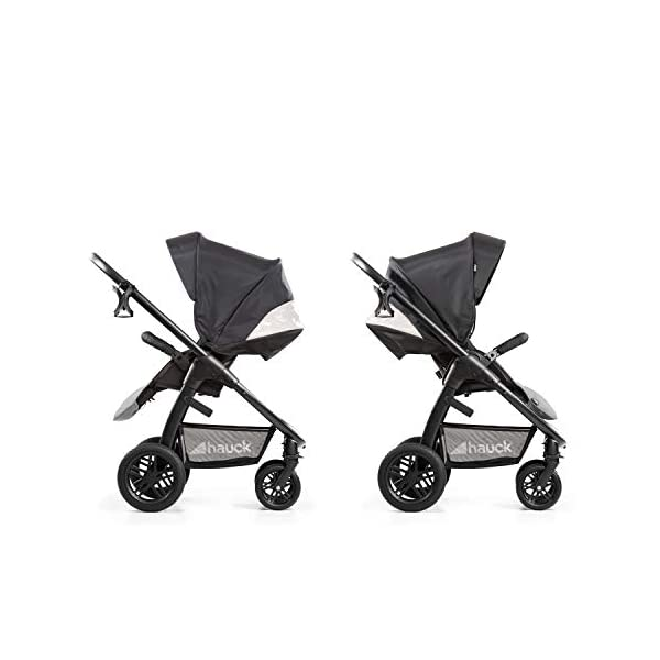 Hauck Hauck Unisex Promenade Chaises Black/Grey Hauck Maximum comfort: backrest and footrest adjustable to the lying position, extra large canopy, height adjustable handlebars, cup holders and foot covers All terrain: the stroller is suitable for both the city and the countryside thanks to the suspension, the high-quality rubber profile and the swivel and lockable front wheels. Swivel: The lightweight sports chair with removable front bar can be rotated towards parents or in moving direction easily in a few seconds. The chair supports a weight of up to 25 kg. 10