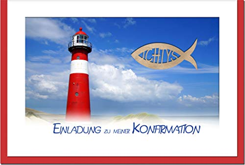 metALUm Einladungskarten KONFIRMATION   Leuchtturm   10 Karten   1701011
