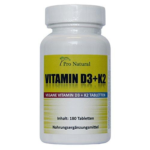 Vitamin D3 5000 I.E. (Cholecaliferol) + Vitamin K2 MK7 (All-Trans Menaquinon 7 - MK7) 200mcg - (180 vegane Tabletten) - Hochdosiertes Vitamin D3 + K2 - hohe Bioverfügbarkeit