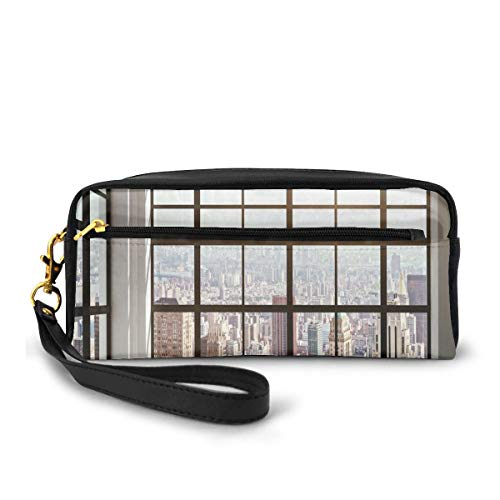 Pencil Case Pen Bag Pouch Stationary,Urban City View of Apartments from Square Shape Windows Photo,Small Makeup Bag Coin Purse