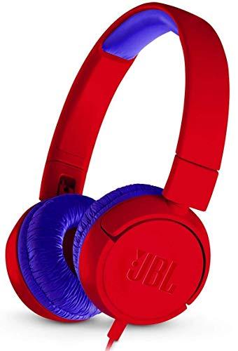 JBL JR300 Cuffie per Bambini con Limitazione del Volume, Cuffie On Ear Aperte Pieghevoli, Sicure e Portatili, Design Leggero e Compatto progettato per i Bambini, Rosso