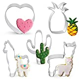 5 Pcs Cookie Cutters Llama Cactus Heart Pineapple Shaped Stainless Steel Cutters Molds Cutters for Making Muffins, Cake, Fondant,Pancake Biscuits,Sandwiches