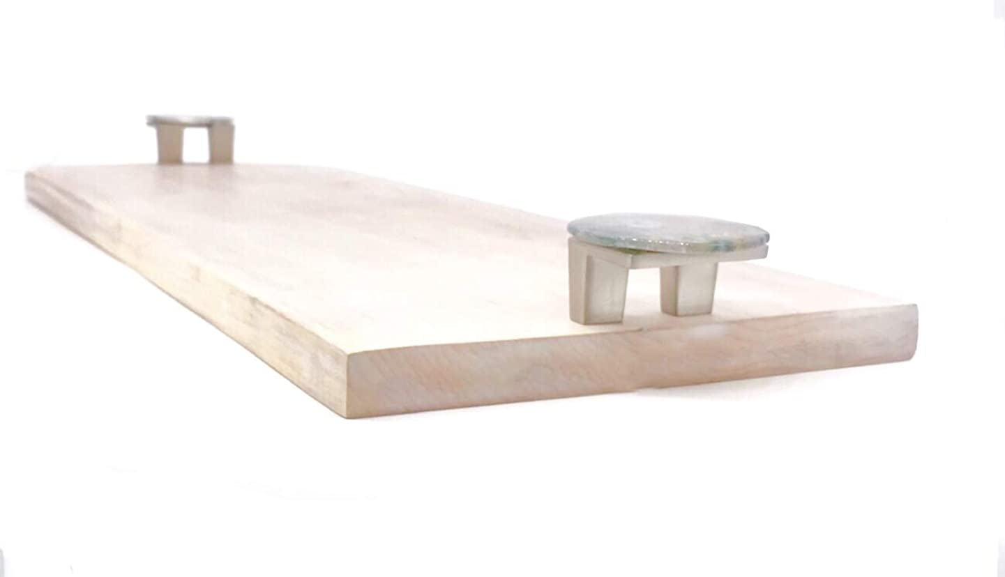 Solid Maple Wood Tray/Cheeseboard/Charcuterie Board with Polished Gemstone Handles