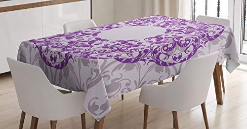 ABAKUHAUS Mandala púrpura Mantele, Marco Oval, Estampado con la Última Tecnología Lavable Colores Firmes, 140 x 200 cm, Topo Malva Violeta