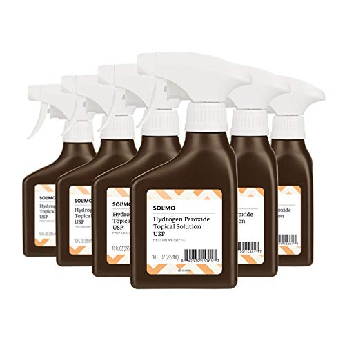 Amazon Brand - Solimo Hydrogen Peroxide Topical Solution USP Spray Bottle, 10 Fl. Oz (Pack of 6)