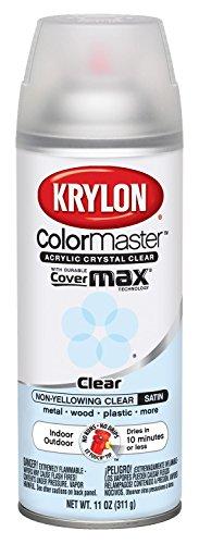 Krylon 51313 Satin Finish Crystal Clear Interior and Exterior Top Coat - 11 oz. Aerosol