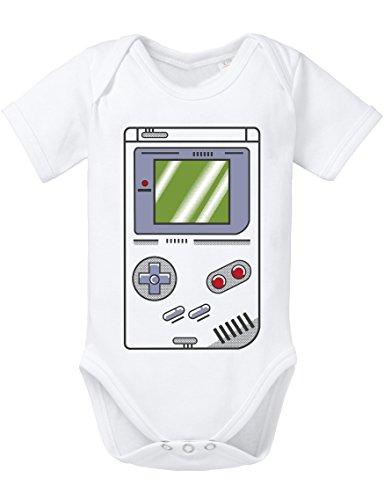 Game Bam 16-Bit Nostalgie SNES Mario super Kart 8-bit Yoshi Boy Baby Strampler Body, Größe:80;Farbe:Weiss
