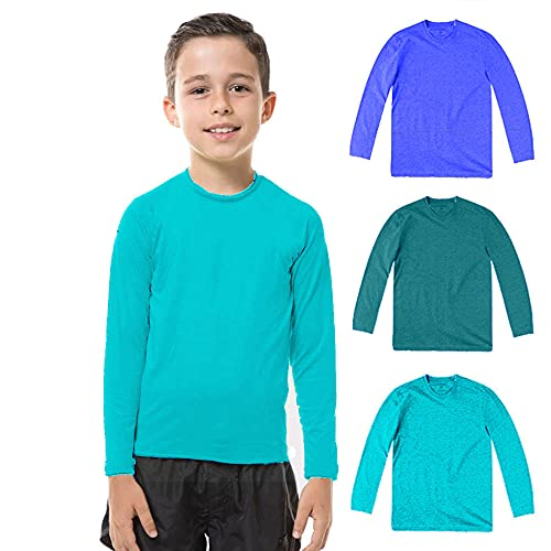 Kit com 03 Camisetas UV Protection Infantil UV50+ Tecido Ice Dry Fit Secagem Rápida - Turquesa - Petróleo - Royal - 4
