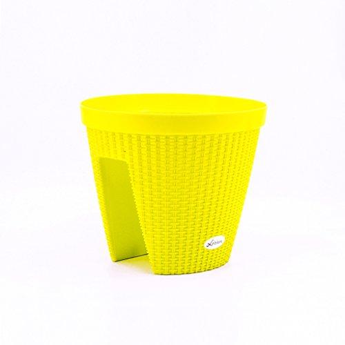 CJH Kreativer Rattansattel-Bassin-Büro-Balkon-Geländer-Zaun, der runden Flowerpot-Plastikmehrfarben fährt (Color : Yellow)