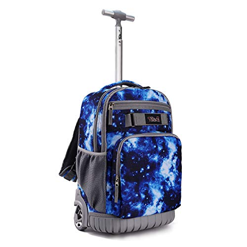 Tilami Rolling Backpack 18 inch Wheeled Laptop Backpack Waterproof School College Student Travel Trip Boys and Girls, Galaxy Blue