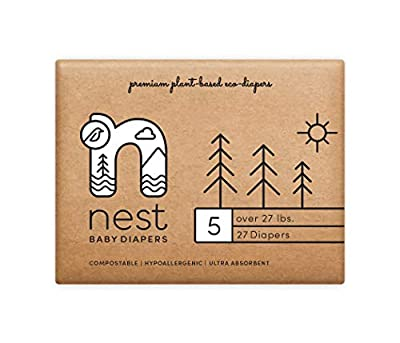 Nest Baby Diapers; Size 5: Over 27 lbs. 108 Count case– Premium Eco Diapers for Sensitive Skin, Made of Sustainable Plant Based Materials, and Fragrance Free